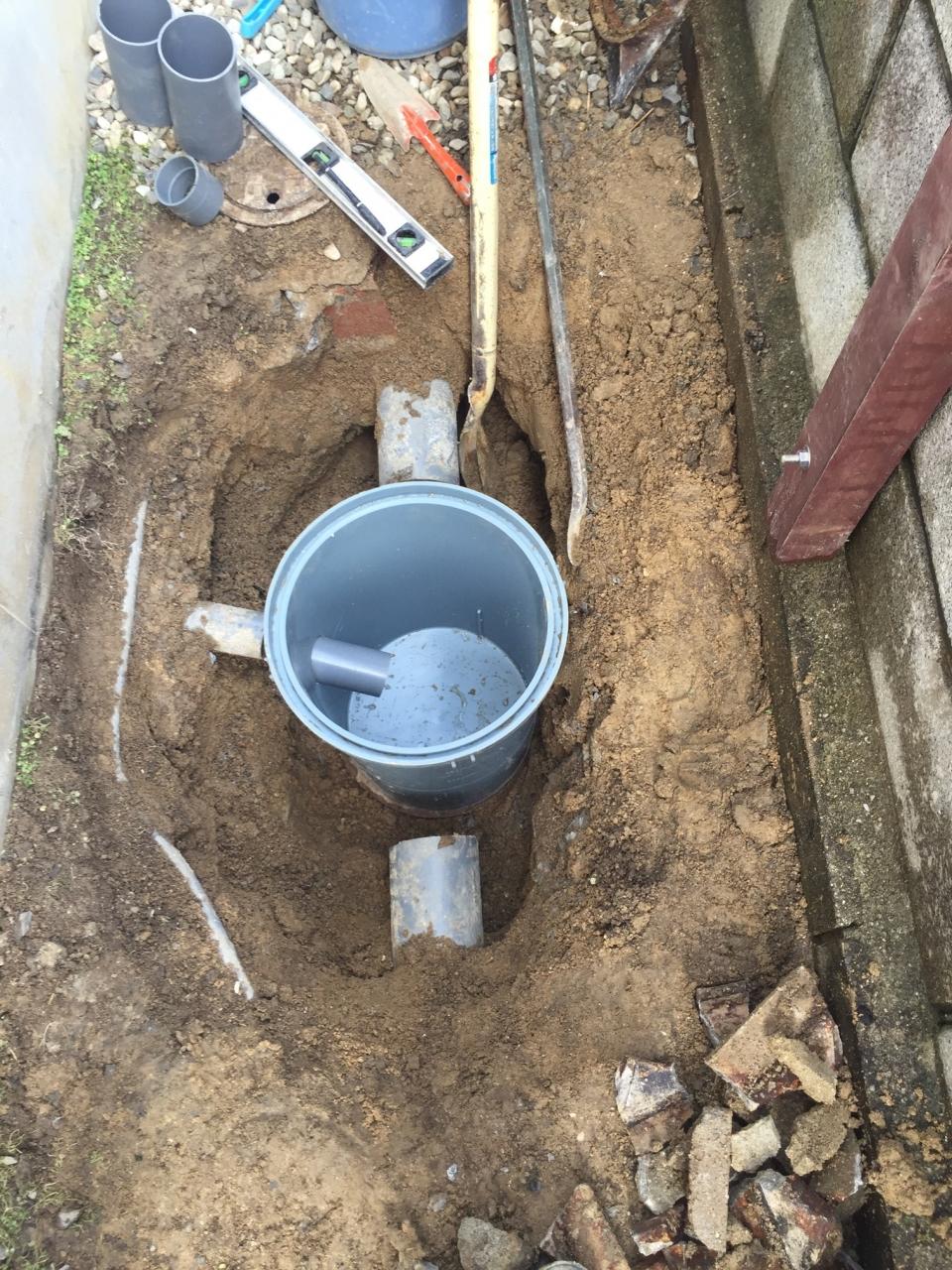 広島市安佐北区口田 排水水漏れ マス工事
