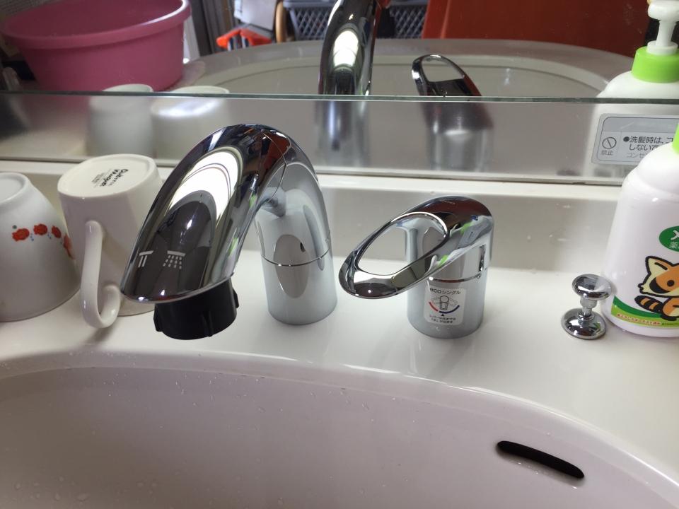 呉市中通 洗面所 シャワー水栓交換