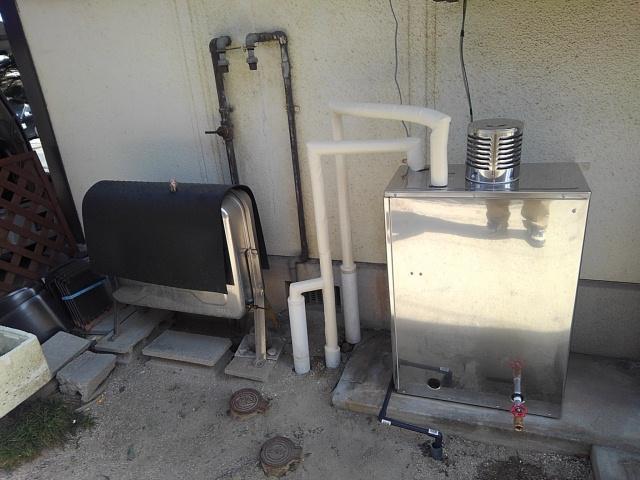 呉市押込 石油給湯器 灯油ボイラー 給湯器交換 工事