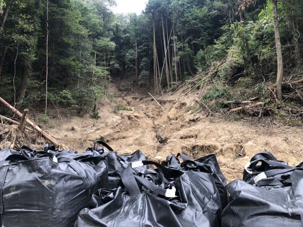 安佐動物園近くの土砂災害